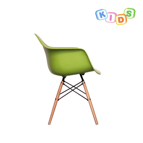 CHARLES EAMES Style Green Plastic Kids DAW Armchair - directhomeliving