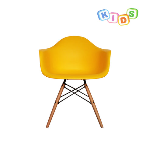 CHARLES EAMES Style Yellow Plastic Kids DAW Armchair - directhomeliving
