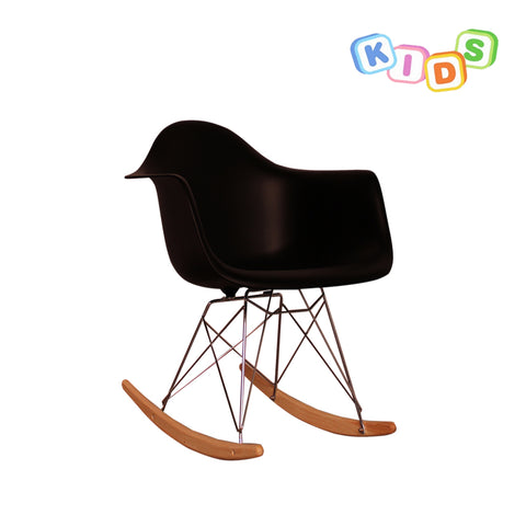 CHARLES EAMES Style Black Plastic Kids RAR Rocking Chair - directhomeliving