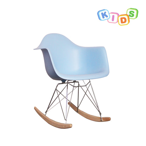 CHARLES EAMES Style Blue Plastic Kids RAR Rocking Chair - directhomeliving