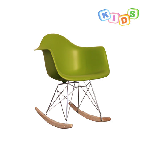CHARLES EAMES Style Green Plastic Kids RAR Rocking Chair - directhomeliving