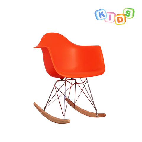 CHARLES EAMES Style Orange Plastic Kids RAR Rocking Chair - directhomeliving