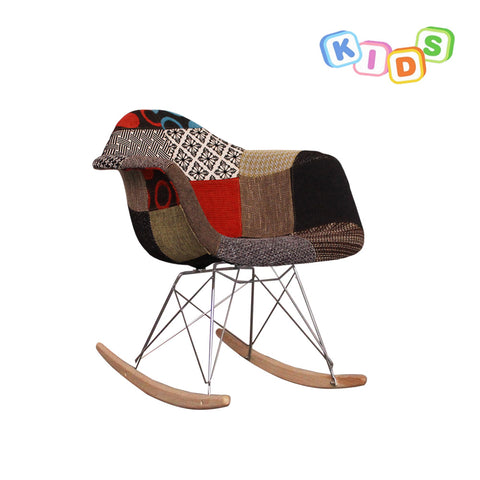 CHARLES EAMES Style Patchwork Fabric Kids RAR Rocking Chair - directhomeliving