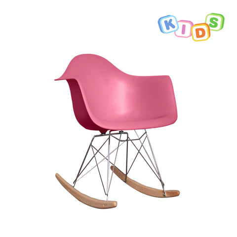 CHARLES EAMES Style Pink Plastic Kids RAR Rocking Chair - directhomeliving