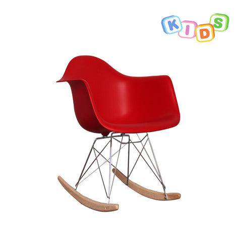 CHARLES EAMES Style Red Plastic Kids RAR Rocking Chair - directhomeliving