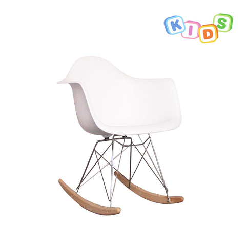 CHARLES EAMES Style White Plastic Kids RAR Rocking Chair - directhomeliving