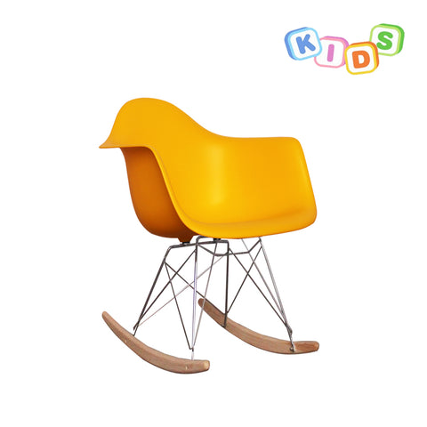 CHARLES EAMES Style Yellow Plastic Kids RAR Rocking Chair - directhomeliving