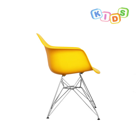 CHARLES EAMES Style Yellow Plastic Kids DAR Armchair - directhomeliving