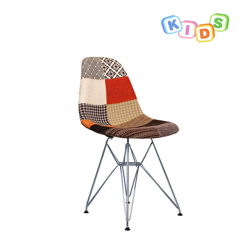 CHARLES EAMES Style Patchwork Fabric Kids DSR Side Chair - directhomeliving