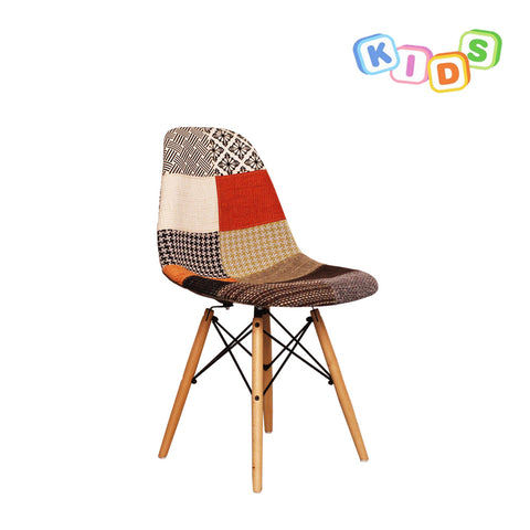 CHARLES EAMES Style Patchwork Fabric Kids DSW Side Chair - directhomeliving