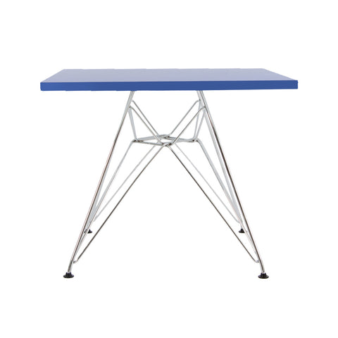 Charles Eames Style Dark Blue Plastic Kids Square Table - directhomeliving