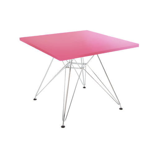 Charles Eames Style Pink Plastic Kids Square Table - directhomeliving