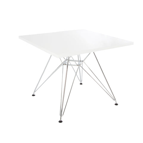Charles Eames Style White Plastic Kids Square Table - directhomeliving