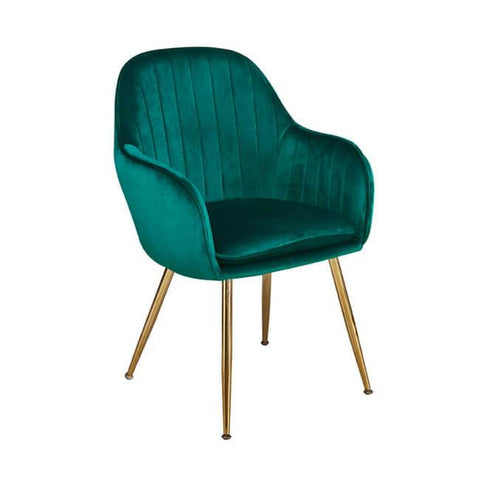 Lara Forest Green Dining Chair with Gold Legs - directhomeliving