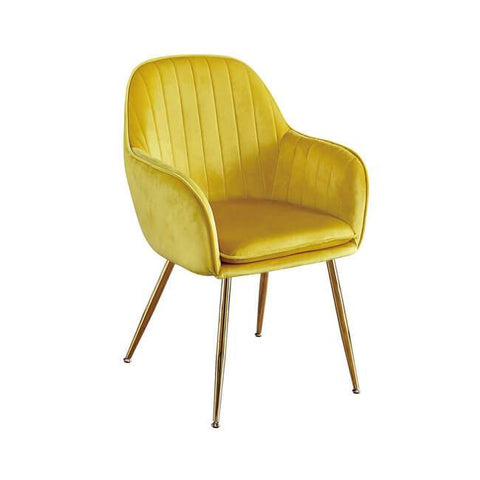 Lara Ochre Yellow Dining Chair with Gold Legs - directhomeliving
