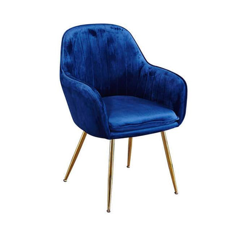 Lara Royal Blue Dining Chair with Gold Legs - directhomeliving