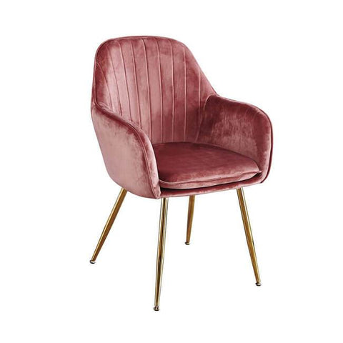 Lara Vintage Pink Dining Chair with Gold Legs - directhomeliving