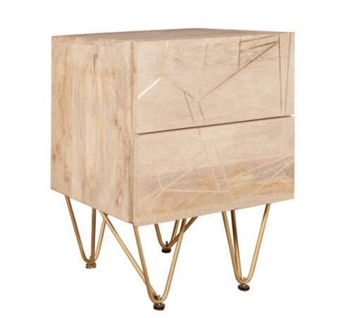 Light Gold 2 Drawer Side Table - directhomeliving