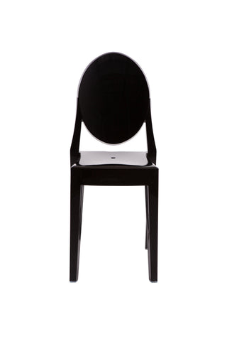 Ghost Style Black Plastic Victoria Side Chair - directhomeliving
