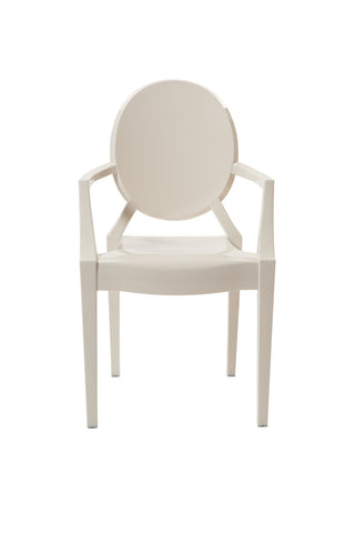 Ghost Style White Plastic Louis Arm Chair - directhomeliving