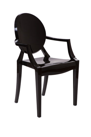 Ghost Style Black Plastic Louis Arm Chair - directhomeliving
