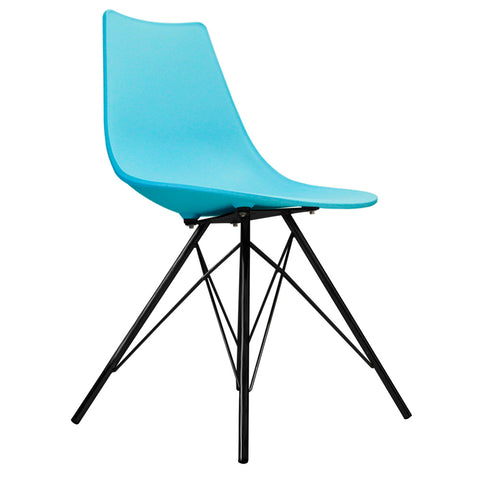 CHARLES EAMES Style Pearl Blue Plastic N-DSR Side Chair with Black Legs - directhomeliving