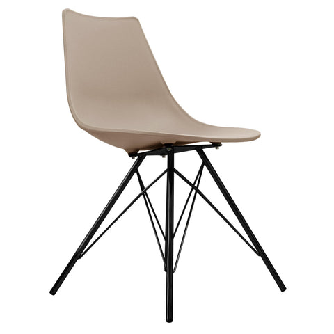 CHARLES EAMES Style Beige Plastic N-DSR Side Chair with Black Legs - directhomeliving