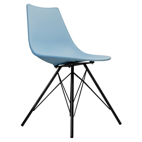 CHARLES EAMES Style Blue Plastic N-DSR Side Chair with Black Legs - directhomeliving