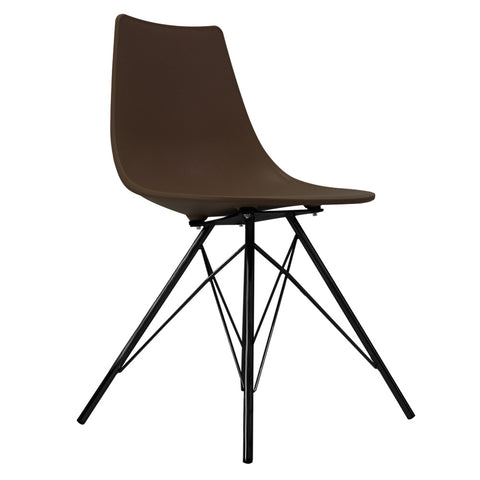 CHARLES EAMES Style Coffee Plastic N-DSR Side Chair with Black Legs - directhomeliving