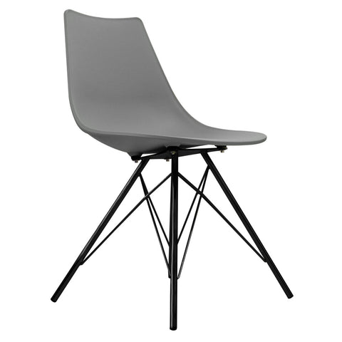 CHARLES EAMES Style Cool Grey Plastic N-DSR Side Chair with Black Legs - directhomeliving