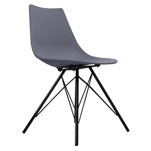CHARLES EAMES Style Dark Grey Plastic N-DSR Side Chair with Black Legs - directhomeliving