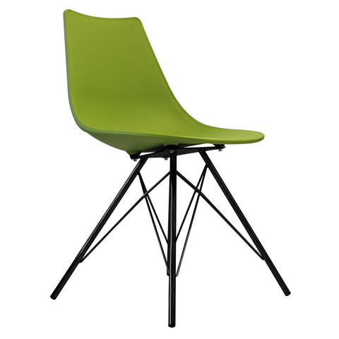 CHARLES EAMES Style Green Plastic N-DSR Side Chair with Black Legs - directhomeliving
