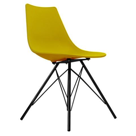 CHARLES EAMES Style Mustard Plastic N-DSR Side Chair with Black Legs - directhomeliving