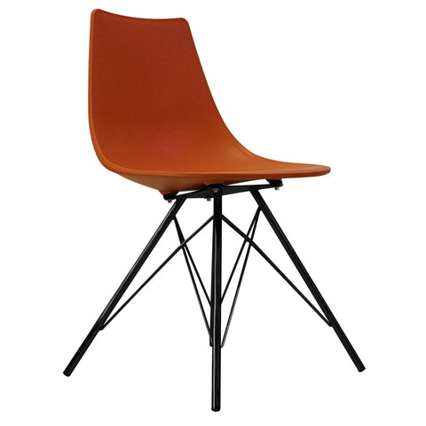 CHARLES EAMES Style Orange Plastic N-DSR Side Chair with Black Legs - directhomeliving