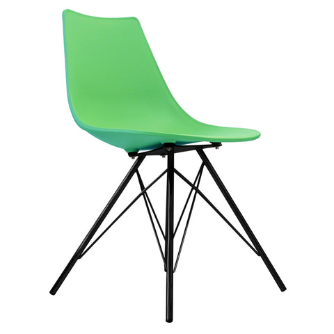 CHARLES EAMES Style Peppermint Plastic N-DSR Side Chair with Black Legs - directhomeliving