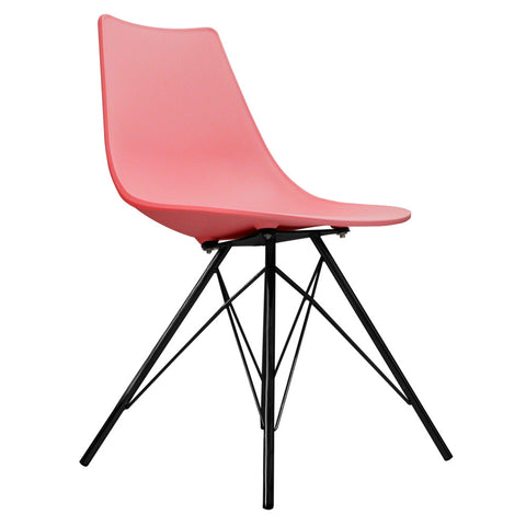 CHARLES EAMES Style Pink Plastic N-DSR Side Chair with Black Legs - directhomeliving