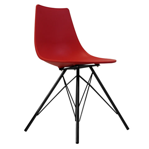 CHARLES EAMES Style Red Plastic N-DSR Side Chair with Black Legs - directhomeliving