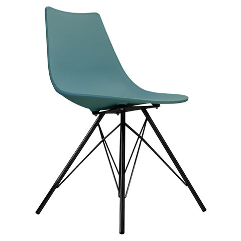 CHARLES EAMES Style Teal Plastic N-DSR Side Chair with Black Legs - directhomeliving