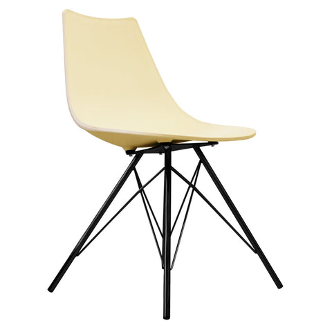 CHARLES EAMES Style Vanilla Plastic N-DSR Side Chair with Black Legs - directhomeliving