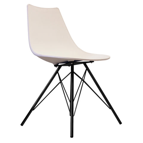 CHARLES EAMES Style White Plastic N-DSR Side Chair with Black Legs - directhomeliving