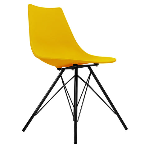 CHARLES EAMES Style Yellow Plastic N-DSR Side Chair with Black Legs - directhomeliving