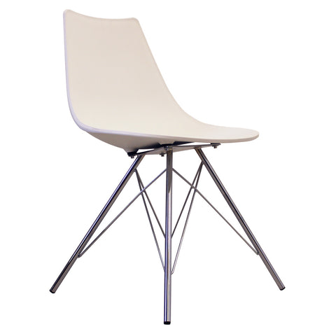 CHARLES EAMES Style White Plastic N-DSR Side Chair - directhomeliving