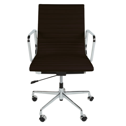 Eames Style EA117 Low Back Dark Brown Leather Office Chair - directhomeliving