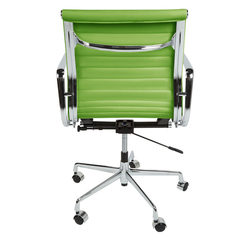 Eames Style EA117 Low Back Green Leather Office Chair - directhomeliving