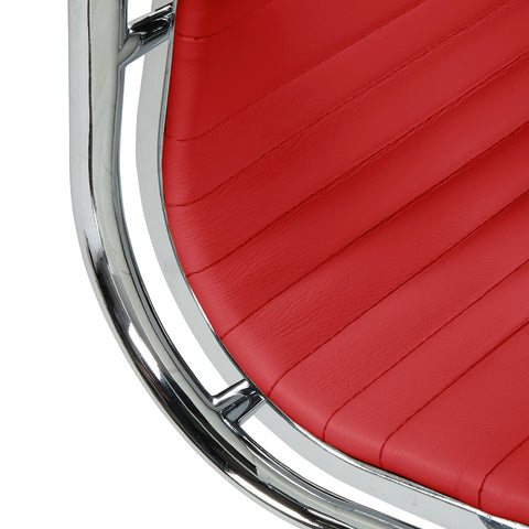 Eames Style EA117 Low Back Red Leather Office Chair - directhomeliving