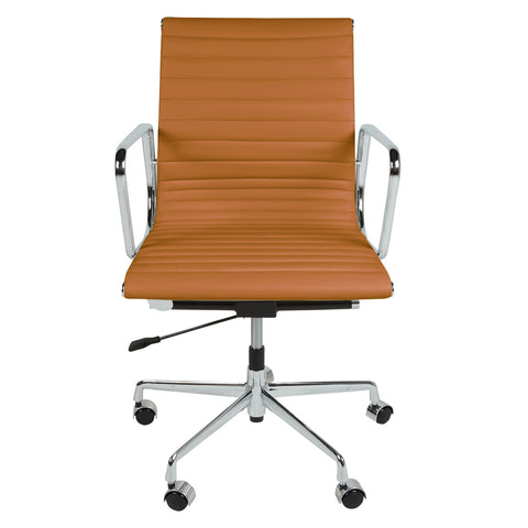 Eames Style EA117 Low Back Tan Leather Office Chair - directhomeliving