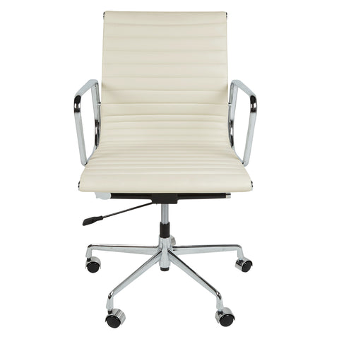 Eames Style EA117 Low Back White Leather Office Chair - directhomeliving