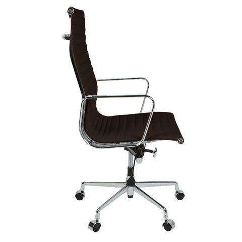 Eames Style EA119 High Back Dark Brown Leather Office Chair - directhomeliving