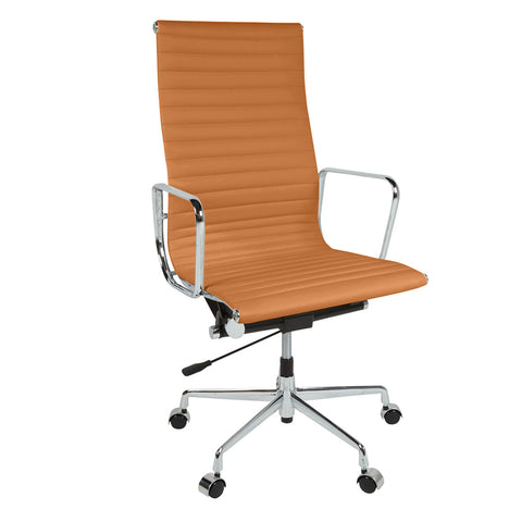 Eames Style EA119 High Back Tan Leather Office Chair - directhomeliving