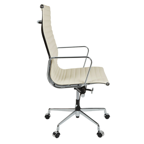 Eames Style EA119 High Back White Leather Office Chair - directhomeliving